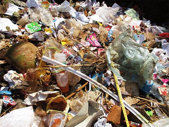 生ゴミとプラスチックゴミが混ざっている
